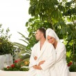 Foto de Stock  : Young couple relaxing after bath