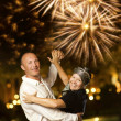 Middle-aged couple dancing waltz at night — Stock Photo #1422381