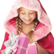 Little Christmas girl open her present — Stock Photo