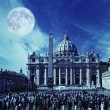 View to the St. Peter's Basilica at a night time - Stock Photo