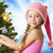 Foto de Stock  : Little santa girl