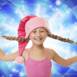 Funny little christmas flicka — Stockfoto