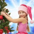 Little santa girl - Stock Photo