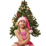menina Santa, perto da árvore de Natal — Foto Stock