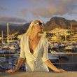 Attractive young woman near the yachts — Stock Photo #1422565