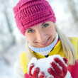 Woman in winter clothing outdoors — Stock Photo #1422587