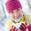 Woman in winter clothing outdoors — Stock Photo
