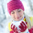 Stock Photo: Womin winter clothing outdoors