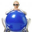 Cyber woman with a fitness ball — Stock Photo #1422841