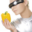Cyber woman with sweet pepper — Stock Photo #1422843