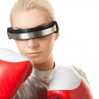 Cyber woman with a red boxing gloves — Stock Photo #1422917