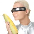 Cyber woman with a corn — Stock Photo