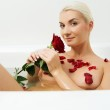 Young woman relaxing in bathroom — Stock Photo #1423033