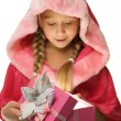 Little Christmas girl open her present — Stockfoto