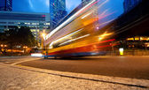 Fast moving bus at night — Stock Photo