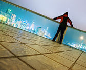 Men looking to the skyscrapers — Stock Photo