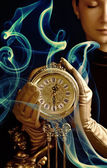 Sepia picture of a beutiful girl with a clock (f — Stock Photo