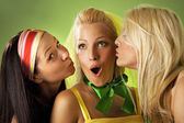 Three young woman close-up portrait — Stock Photo