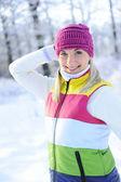 Frozen beautiful woman — Stock Photo