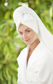 Beautiful young woman after bath — Stock Photo