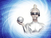 Beautiful cyber woman with a silver ball — Stock Photo