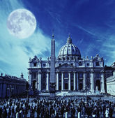 View to the St. Peter's Basilica at a night time — Stock Photo