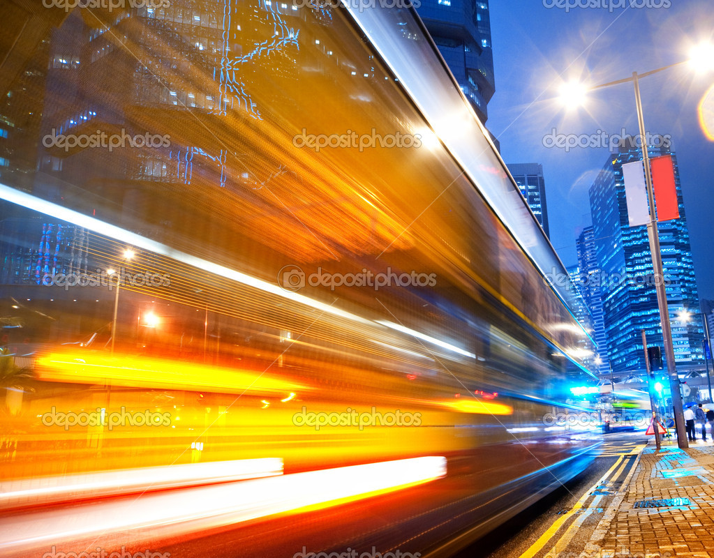 Fast moving bus at night  — Stockfoto #1420735