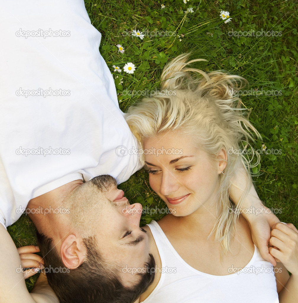Young couple in love outdoors — Stock Photo #1421334