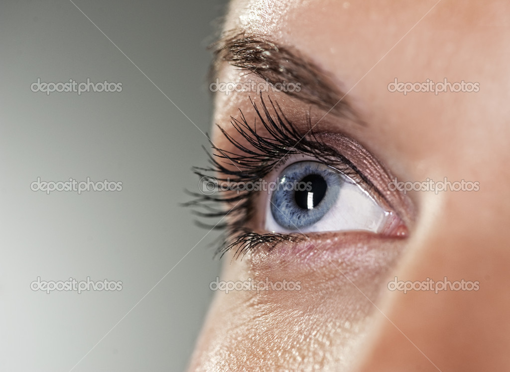 Blue eye on grey background (shallow DoF)   Stock Photo #1422062