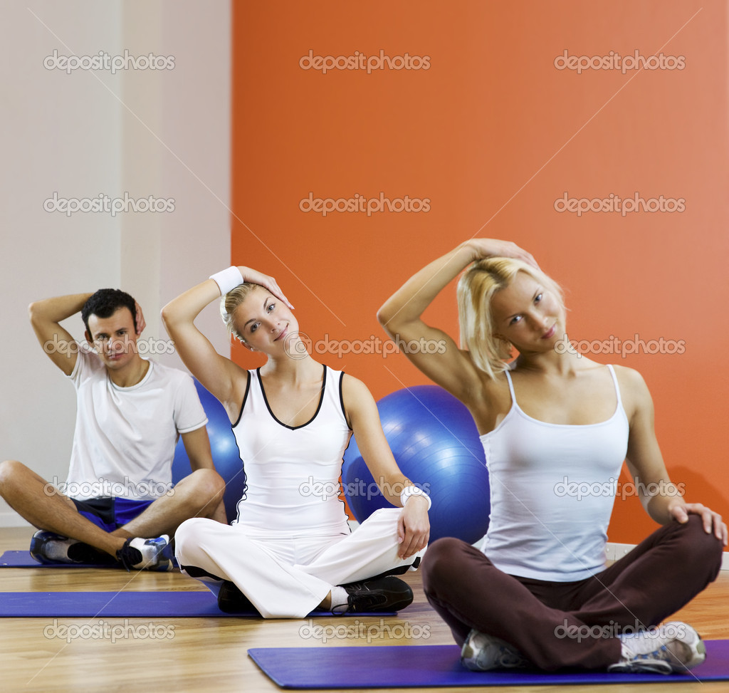 Group of doing yoga exercise — Stock Photo #1422225