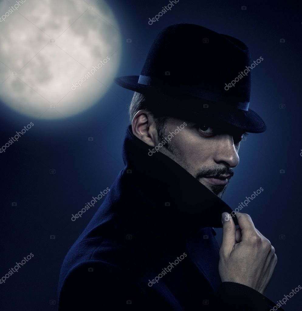 Mysterious man retro portrait  Stock Photo #1422549