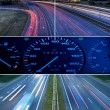 Speed highway collage - Stock Photo