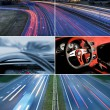 Speed highway collage — Stock Photo