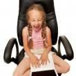 Funny young girl with laptop — Stock Photo