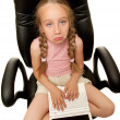 Sad young girl with laptop - Photo