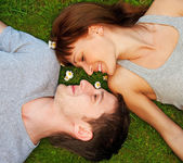 Young couple in love outdoors — Foto de Stock