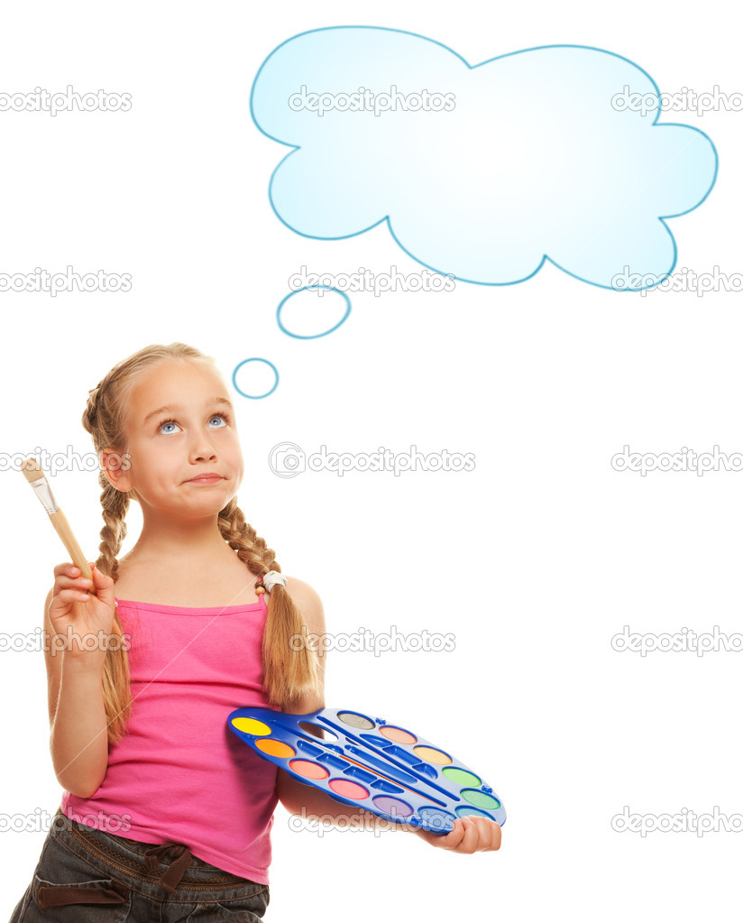 Beautiful little girl painting — Stock Photo #1727976