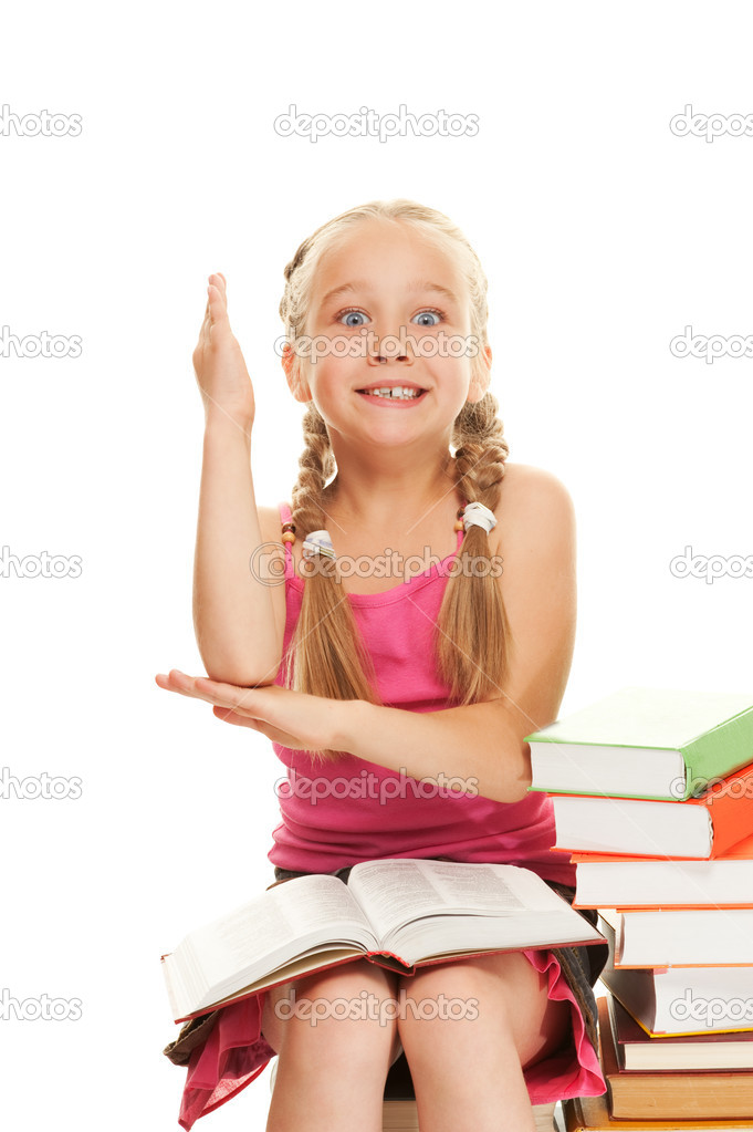 Little schoolgirl raised her hand to answer question — Stock Photo #1729705