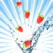 Splashing water with strawberries - Stock Photo