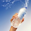 Human hand holding a bottle of water — Stock Photo
