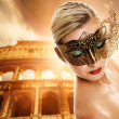 Beautiful woman in front of Colosseum — Stock Photo #1741749