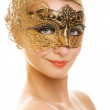 Lovely young woman with carnival mask — Stock Photo #1746734