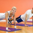 Group of completing push ups - Stockfoto
