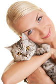 Young woman with adorable kitten — Stock Photo
