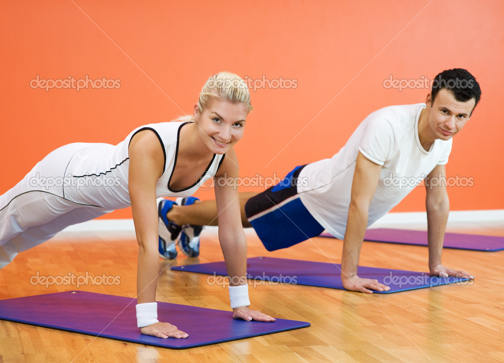 Group of completing push ups — Stock Photo #1746764