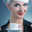 Lovely lady with coffee cup — Stock Photo #2082297