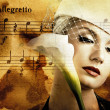 Stock Photo: Beautiful womover abstract melody background