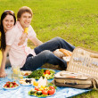 Young couple at romantic picnic - Stock Photo