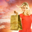 Beautiful woman with a shopping bag — Stock Photo