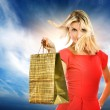 Beautiful young woman with a bag — Stock Photo #2083994